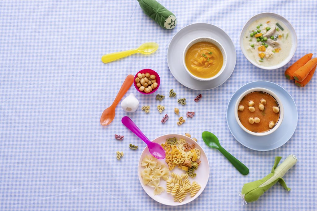 Healthy kids food background wallpaper, carrot soup and chicken soup