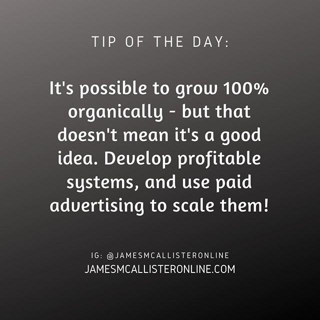 It's possible to grow 100% organically - but that doesn't mean it's a good idea. Develop profitable systems, and use paid advertising to scale them!